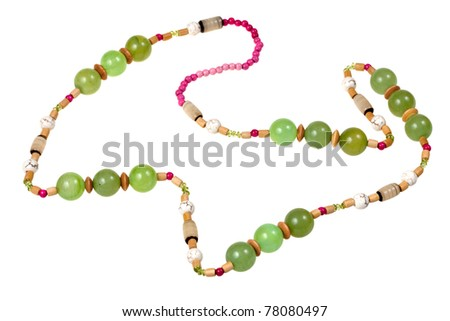green onyx beads isolated on white
