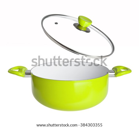 Green open cooking pan isolated on white background - stock photo