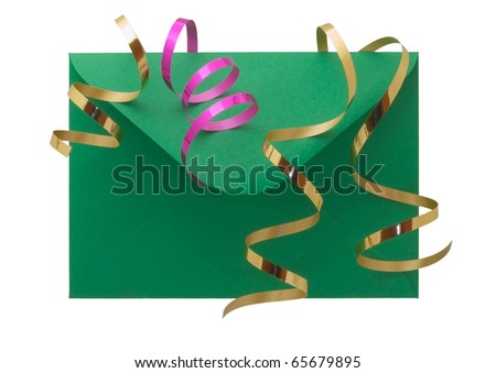 Green open flap envelope with ribbons