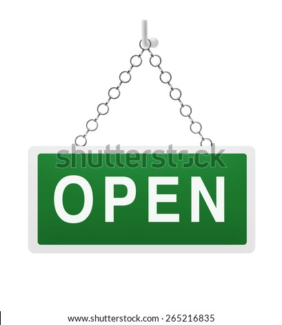 Green open sign on white background - stock photo