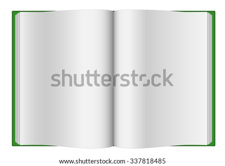 Green opened hardcover book isolated on white background. - stock photo