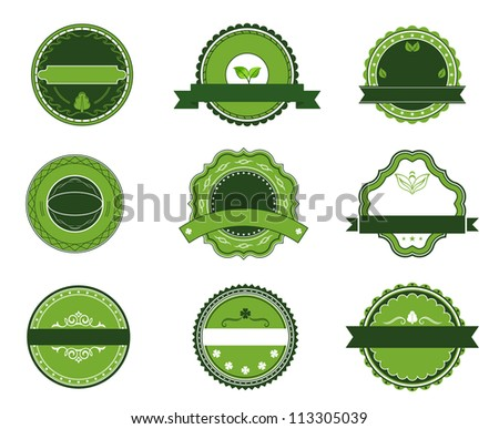 Green organic and bio labels set for design, such a logo template. Vector version also available in gallery - stock photo