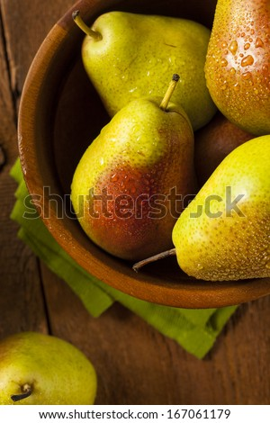 Green Organic Healthy Pears Ripe and Ready to Eat