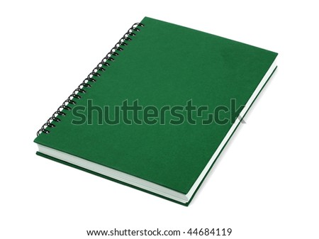green organizer spiral notebook paper book isolated over white background - stock photo
