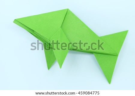 green origami fish beautiful simple have two fins one tail made by one paper without cutting or tear
