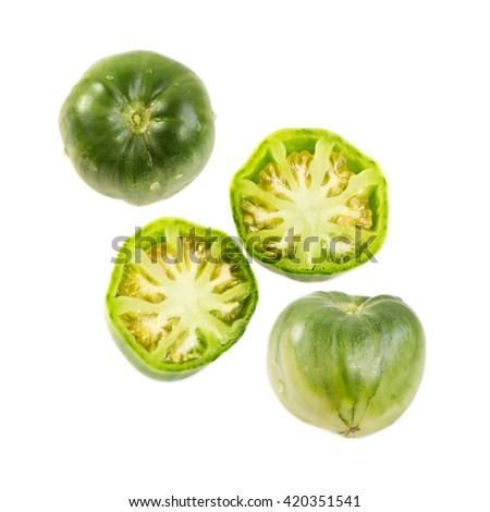Green ox heart tomato, Solanum lycopersicum - stock photo