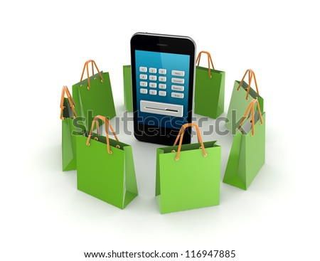 Green packets around mobile phone.Isolated on white background.3d rendered. - stock photo