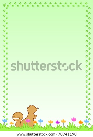 Green page with cute squirrel and flowers - stock photo