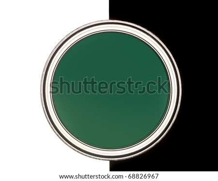 Green Paint can on black and white background - stock photo