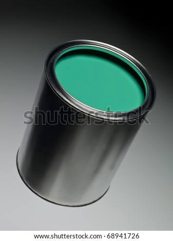 Green Paint can on toned background