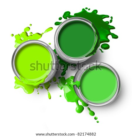 Green paint cans with splashes on white background - stock photo