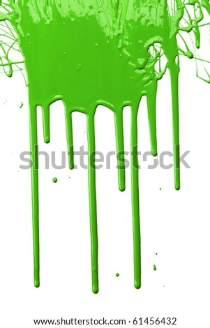 Green paint dripping isolated over white background - stock photo
