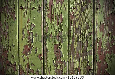 Green paint peeling from a wooden panel door showing the wood grain and old red painted surface - stock photo