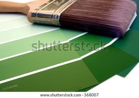 Green Paint Sampler - stock photo