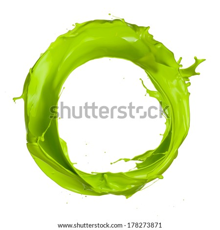 Green paint splashes circle isolated on white background - stock photo