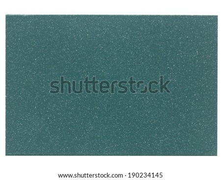 Green painted metal sample isolated over white background