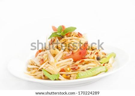 green papaya salad thai food  - stock photo