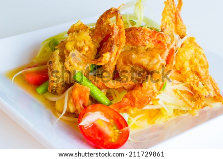 green papaya salad with crispy soft shell crab