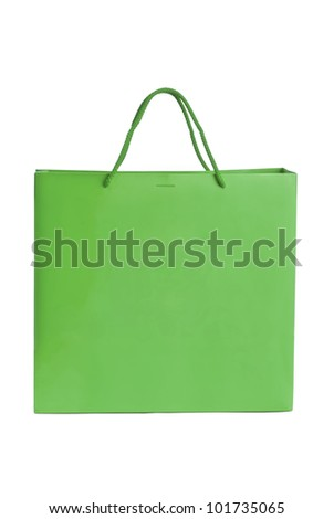 Green paper bag for shopping - stock photo