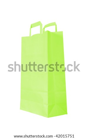 green paper bag is on white background