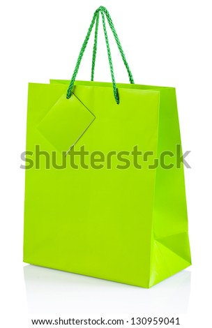 green paper bag isolated