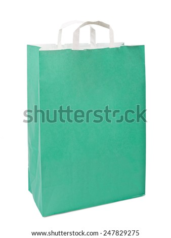 Green paper bag. Isolated on white
