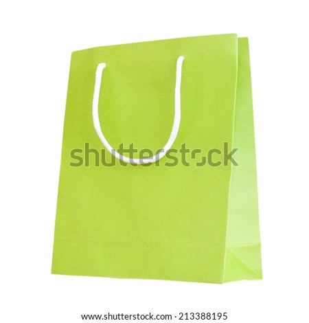 Green paper bag isolated on white with clipping path. - stock photo