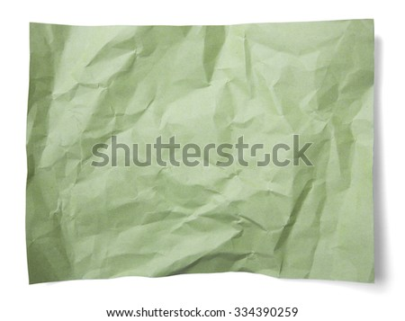 Green paper grunge background vignette isolated on white background - stock photo