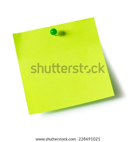 Green paper note pad attached with push pin on white background - stock photo