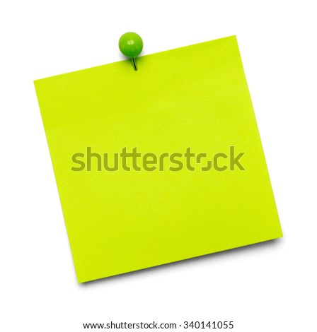 Green Paper Note with Copy Space and Tac Isolated on a White Background. - stock photo