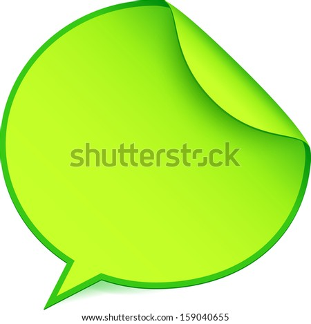 Green paper speech bubble sticker with curled angle