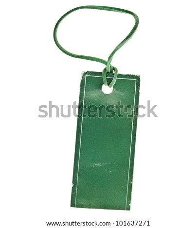 Green Paper Tag Label with rubber isolated on white background - stock photo