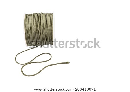 Green para cord over white background - stock photo