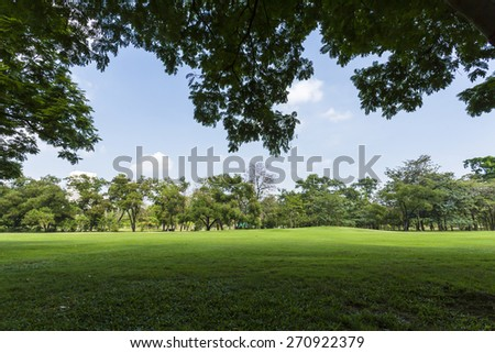 Green park and sky - stock photo
