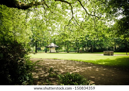 Green park garden in Liverpool - stock photo