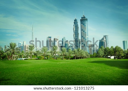 Green park in Dubai, UAE - stock photo