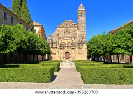 Green park in front of El Salvador chapel in Ubeda, Andalusia, Spain