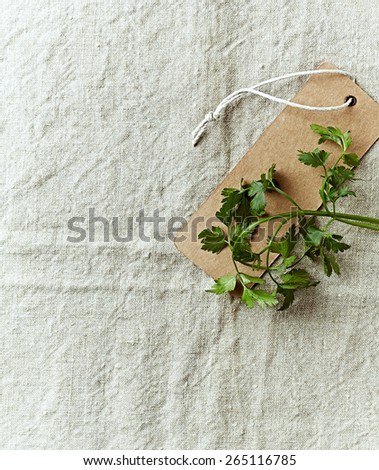 Green parsley on a paper label - stock photo