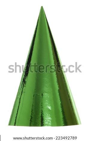 green party hat studio cutout - stock photo