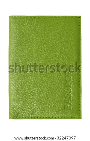 Green passport cover. Artificial leather pattern. Isolated on white - stock photo