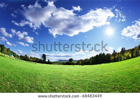 Green pasture and bright blue sky - stock photo