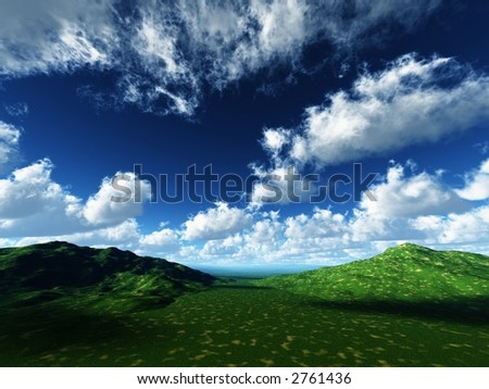 green pastures and deep blue sky - stock photo