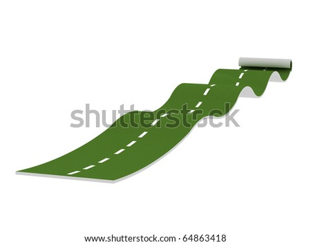 green path on white background