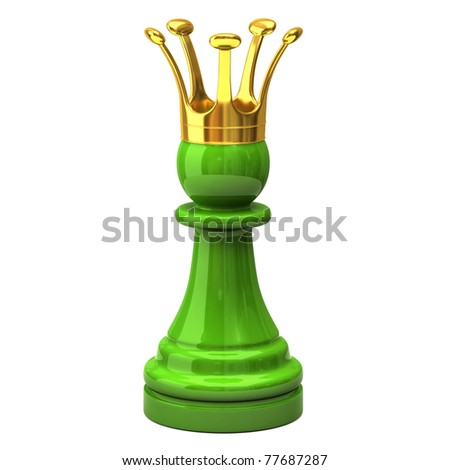 Green pawn with a golden crown - stock photo