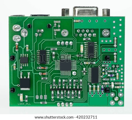 green pcb board with microchips