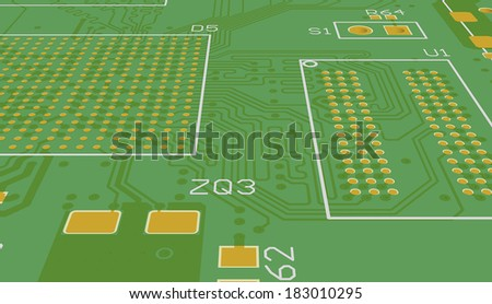 Green PCB without elements