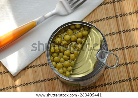 Green pea can overhead view. - stock photo