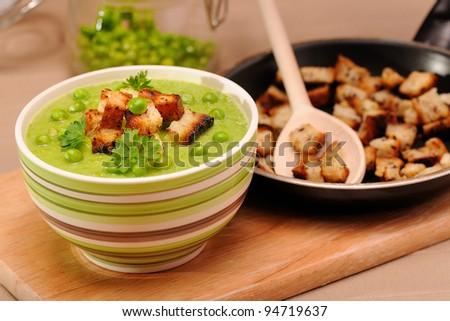 Green pea soup - stock photo