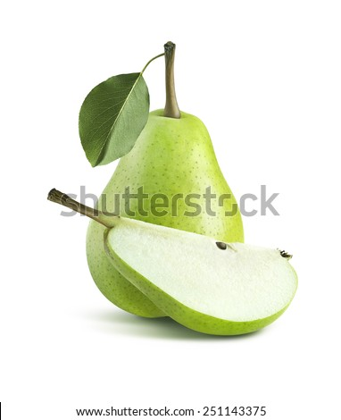Green pear central composition whole quarter isolated on white background as package design element - stock photo