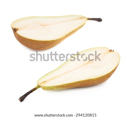 Green pear cut in half isolated over the white background, set of two different foreshortenings